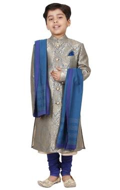 Grey & blue jacquard sherwani set