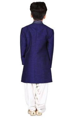 Navy blue raw silk solid sherwani set