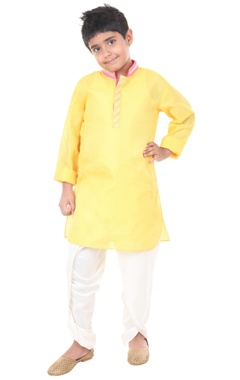 yellow & ivory silk solid dhoti with kurta