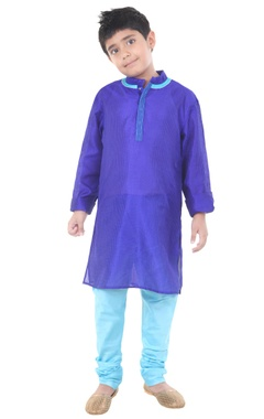 blue & sky blue silk solid kurta with chudidar