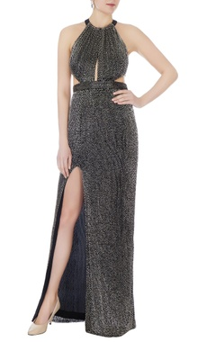 Black halter fitted gown with gunmetal salli beadwork
