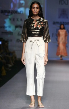 black silk chanderi striped blouse with white pants