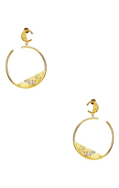 Flower Child by Shaheen Abbas Gold plated circular hoop earrings