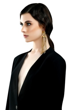 gold plated jhumka long earrings