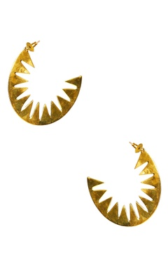 gold plated spike-y hoop earrings
