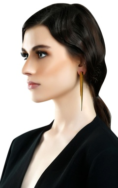 gold plated spike long earrings