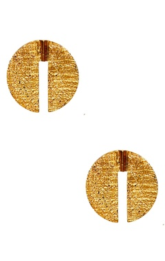 gold plated floral ear-top earrings