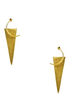 gold plated geometric motif statement earrings
