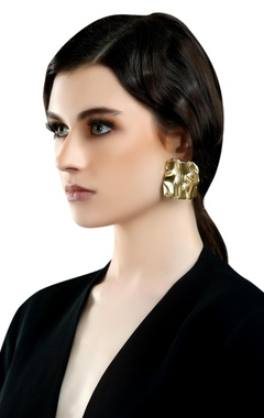 gold plated ear-top medallion earrings