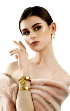 Gold plated brass medallion cuffs