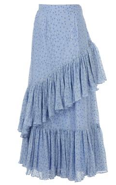 Periwinkle blue spanish maxi ruffle skirt