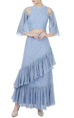 Pale blue cold-shoulder flared sleeve blouse