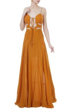 Mustard cutout sweetheart neckline gown
