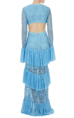 Periwinkle blue spanish ruffle gown