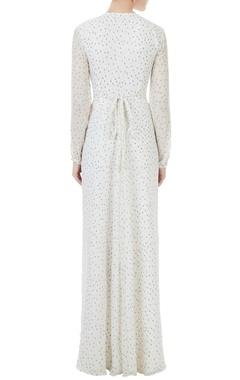 White dot printed chiffon summer maxi dress