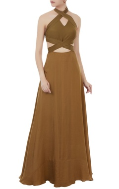 Olive green cutout halter gown