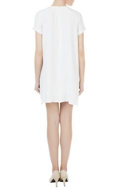 White crepe silk short dress