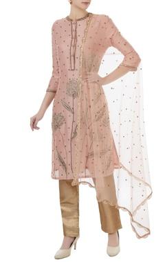 Rajat k Tangri Powder pink & brown chanderi, tafetta & net hand crafted nakshi, white pearl & mirror work kurta with pants & dupatta