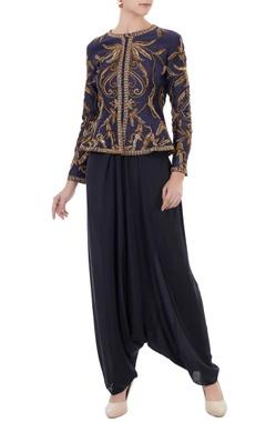 Rajat k Tangri Navy blue & grey chanderi & crepe hand crafted nakshi, white pearl & bead work peplum jacket & dhoti pants