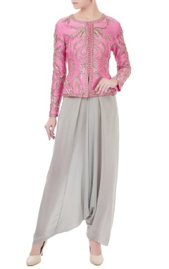 Rajat k Tangri Pink & grey chanderi & crepe hand crafted nakshi, white pearl & bead work peplum jacket & dhoti pants