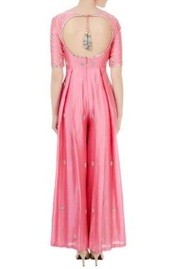 Pink chanderi & net hand crafted nakshi, bead work & mirror work jumpsuit with dupatta