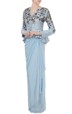 Ice blue raw silk & crepe hand crafted colorful sequin & bead work peplum jacket with draped skirt