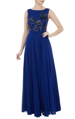 Royal blue georgette hand crafted seqin & bead work jumpsuit