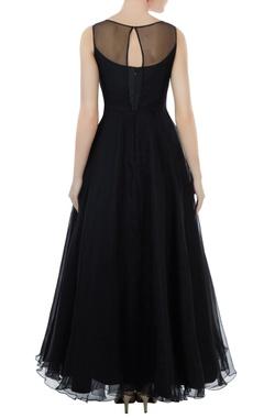 Black organza & tafetta hand crafter bead, seqin & nakshi work evening princess gown