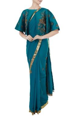 Sea blue georgette & tafetta hand crafted zardozi sari with bustier & cape