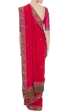 Fucshia pink & red georgette & tafetta hand crafted zardozi & bead work tassels sari with cold-shoulder blouse