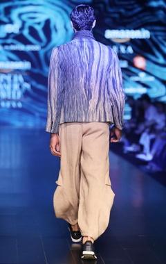 Cream bhagalpuri woven silk draped trousers