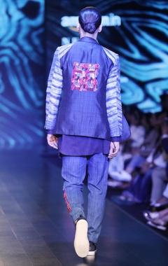 Navy blue tussar silk arashi dye jacket