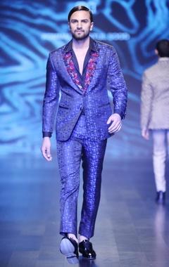 Black & blue blended silk & satin sequin jacket