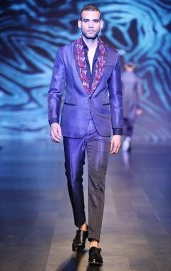 Black & blue blended silk & satin sequin tuxedo jacket