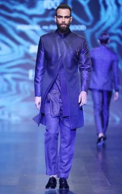 Black & blue silk & satin jacquard woven ajkan