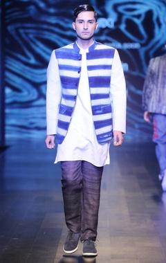 Blue & white khadi clamp dye bandhgala jacket