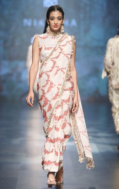 Ivory crepe & dupion scalp printed sari with blouse