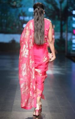 Magenta crepe & lycra satin & organza embroidered dhoti sari with overlap blouse