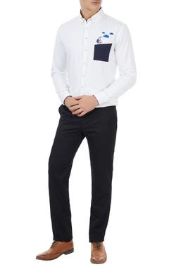 Sahil Aneja White cotton robot embroidered shirt