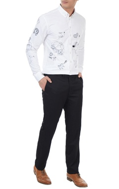 White cotton flock embroidered shirt