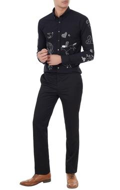 Black cotton flock embroidered shirt