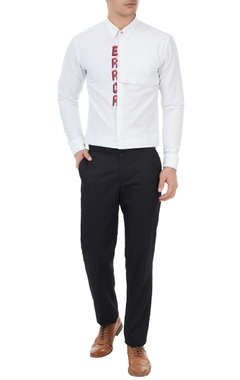 Sahil Aneja White cotton error embroidered shirt