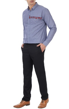 Sahil Aneja Navy blue error cross stitch shirt