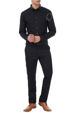 Sahil Aneja Black cotton bear cross stitch shirt