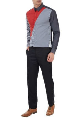 Sahil Aneja Multi-colored cotton striped shirt
