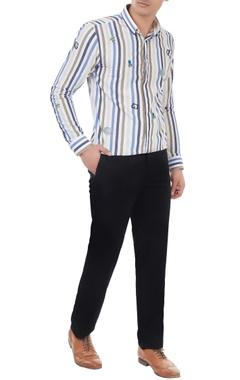 Blue & beige cotton striped shirt