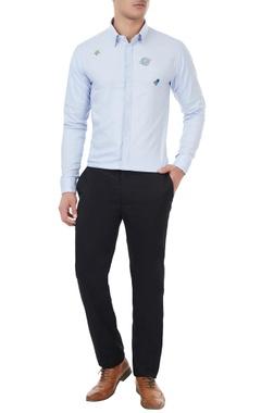 Sahil Aneja Light blue cotton embroidered shirt