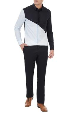 Black cotton color-blocked shirt