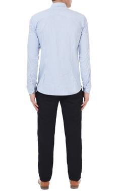 Blue & white cotton error cross stitch & striped shirt