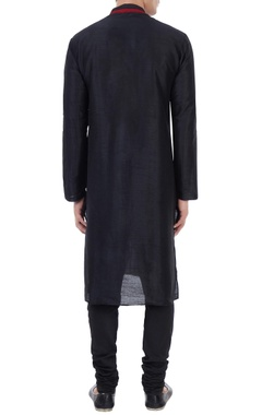Black silk thread work kurta with churidar